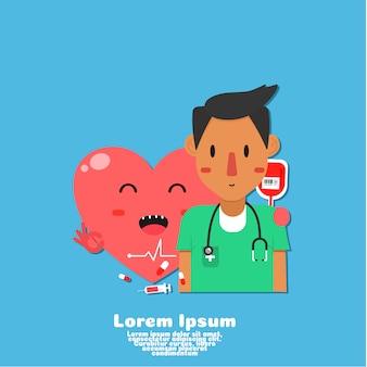 かわいい健康な心臓と医者の漫画は、心をチェックします。