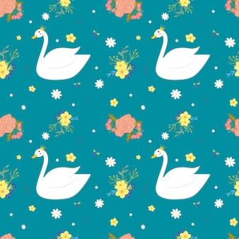 白い白鳥と花のシームレスパターン
