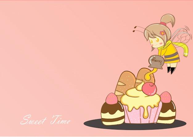 かわいい蜂とデザート漫画ベクトル。