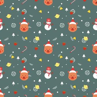 かわいいクマのクリスマスシームレスパターンベクトル。