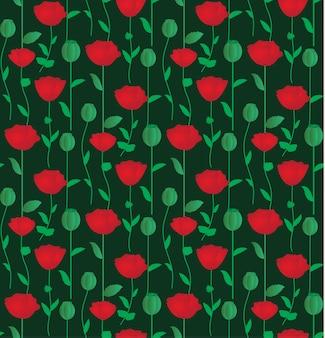 赤いケシの花とシームレスなパターン