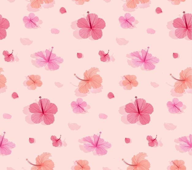 美しい咲くハイビスカスとシームレスなパターン