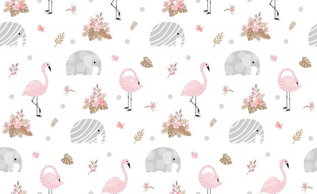 かわいい象とシームレスなパターン