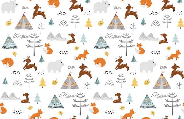 野生動物とかわいいのシームレスパターン。