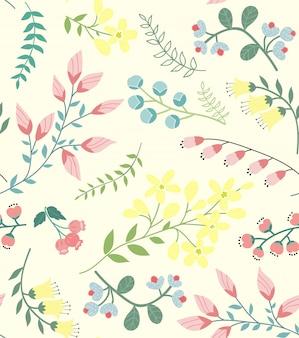 かわいい春クロッカスのシームレスパターン
