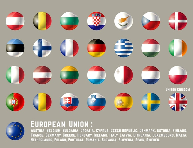 Круглые флаги европейского союза
