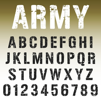 アルファベットフォントの軍のスタンプデザイン