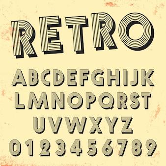 レトロラインフォントテンプレート。ヴィンテージ文字と数字のラインのデザインのセット。