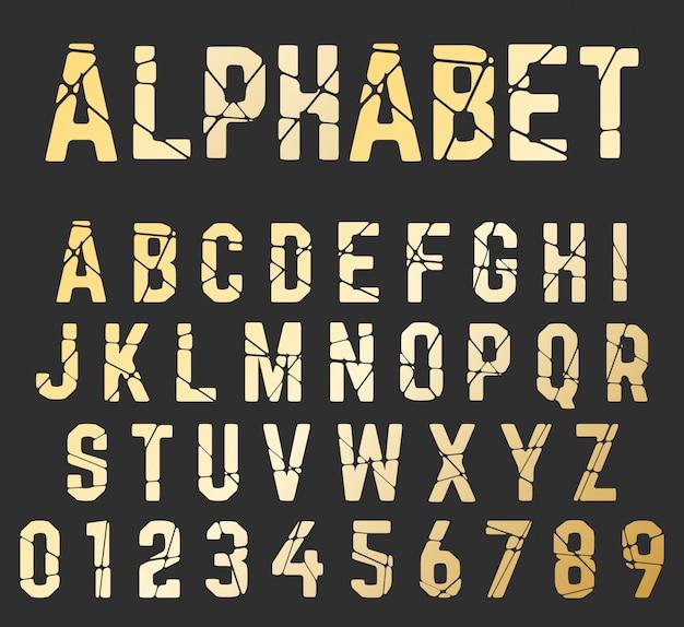 Сломанный шрифт алфавит