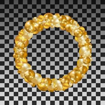 透明な背景に金色のボールの花輪