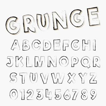 グランジアルファベットフォントテンプレート。悩んだストロークデザインの文字と数。ベクトルイラスト