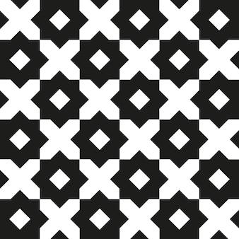 レトロな黒と白のヴィンテージの幾何学的なシームレスパターン。