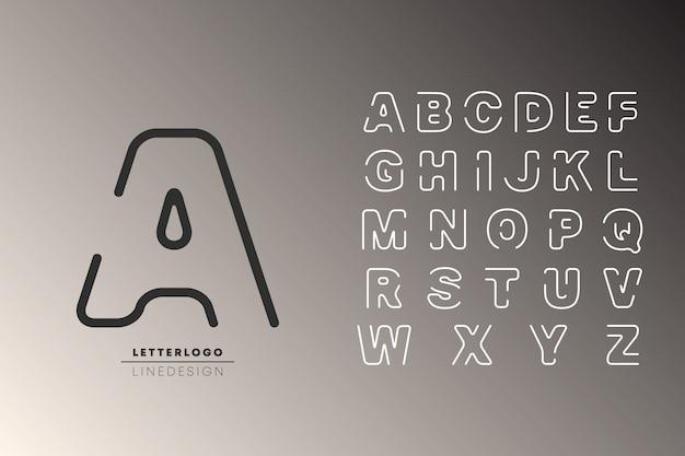 アルファベットの最小ラインデザイン