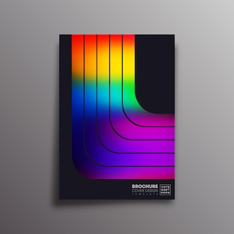 カラフルなグラデーションストライプとレトロなポスター