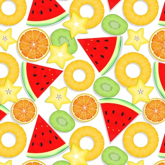 夏の果物のシームレスパターン