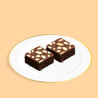 アイソメのブラウニーチョコレートケーキベクトル