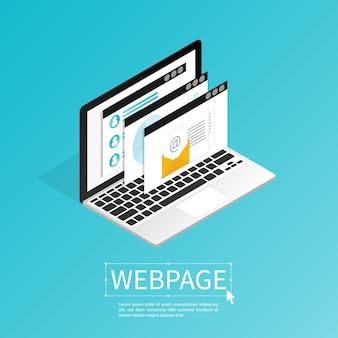 ウェブサイトのウェブサイトの設計コンピュータのアイソメ平面ベクトルを作成する