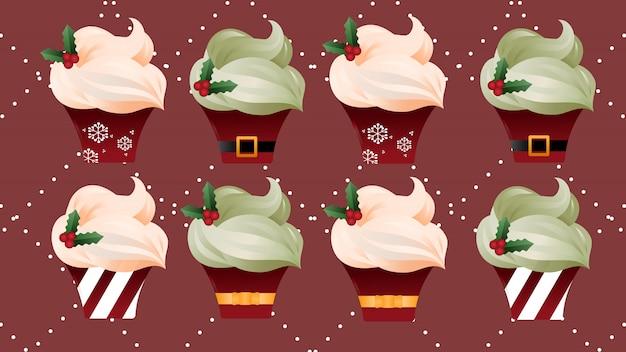 クリスマスクリームカップケーキ