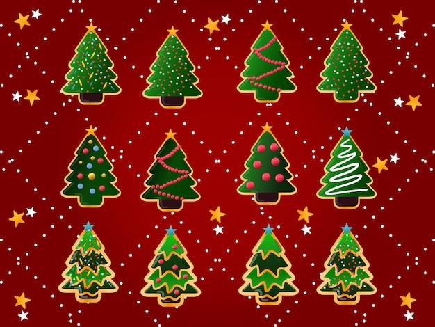クリスマスツリーのクッキーコレクション