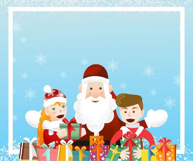 Санта-клаус с двумя детьми с фоном рождественские подарки