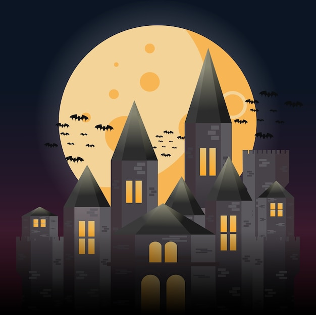 満月の下の謎の城