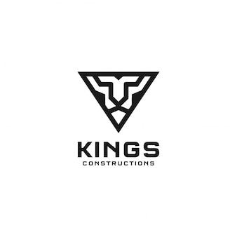 Король лев абстрактный треугольник дизайн логотипа