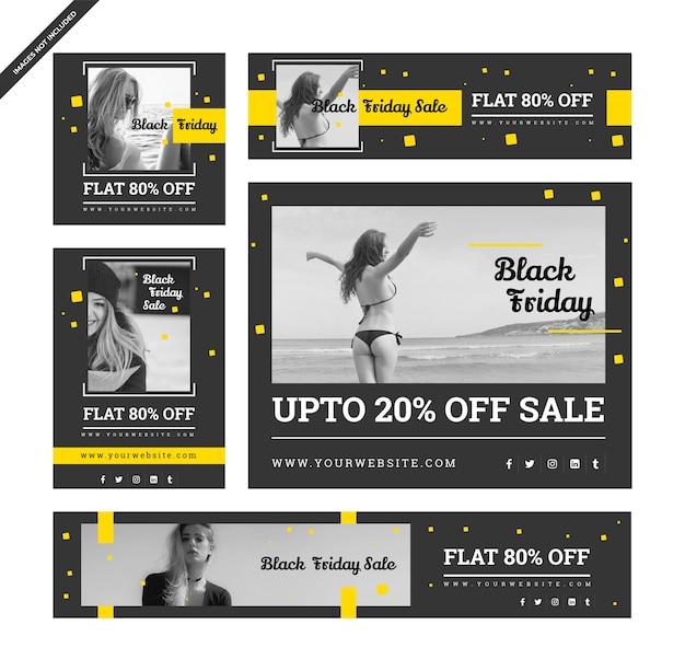 Черные пятнистые баннеры со скидкой для социальных медиа цифровой маркетинг