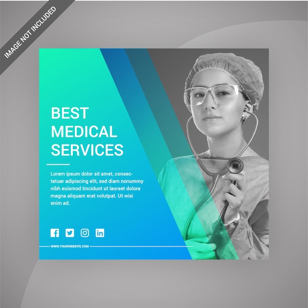 医療サービスソーシャルメディアポストまたはプリントテンプレート