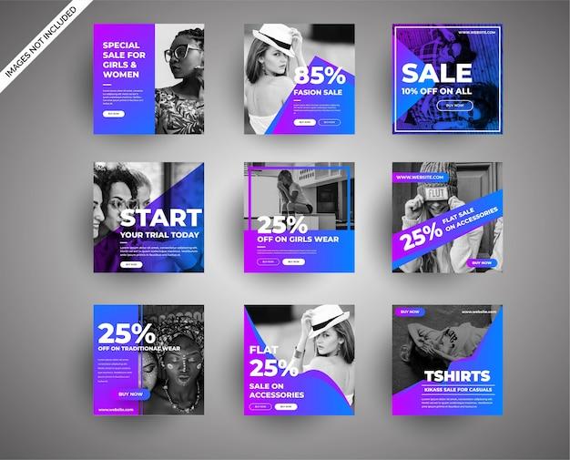 ソーシャルメディアとデジタルマーケティングのファッションセールのバナー集