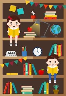 Книжный шкаф с книгами, детские и офисные вещи, иллюстрация