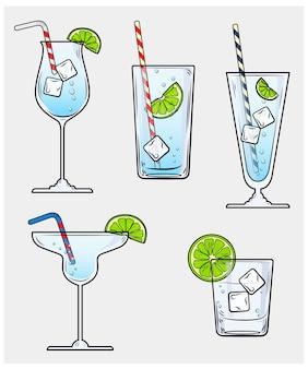 レモン、アイス、ストローのグラス