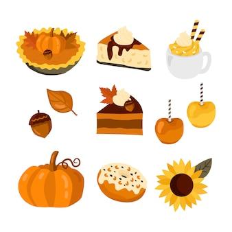パンプキンケーキ、リンゴ、コーヒーセット