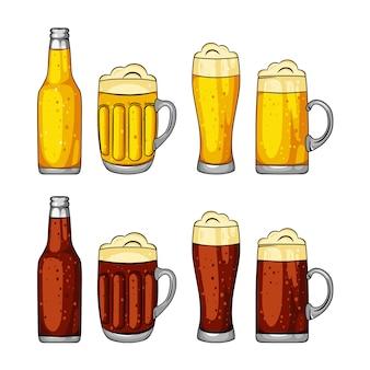 Стаканы и банки с пивом