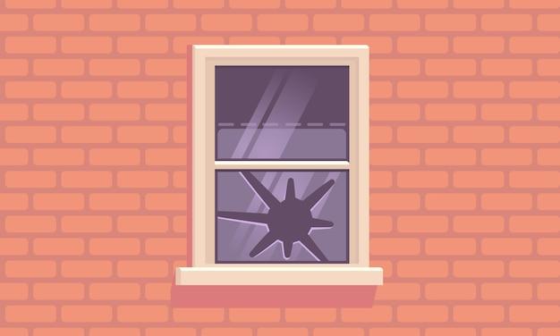 Окно на кирпичной стене