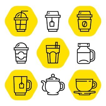 Кофе и чай наброски значок набор