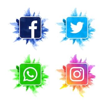 現代の水彩ソーシャルメディアアイコンコレクション