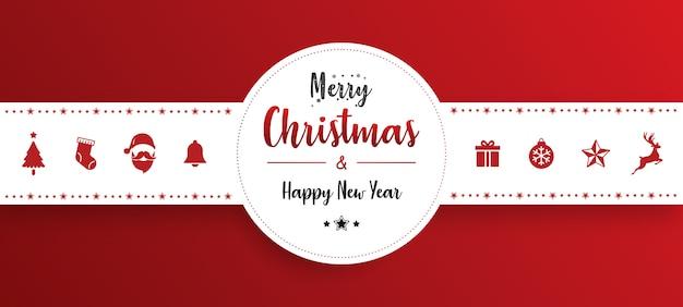 赤い背景のクリスマスの飾りのバナー