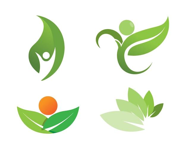 ツリーリーフベクトルロゴデザイン、環境にやさしいコンセプト。