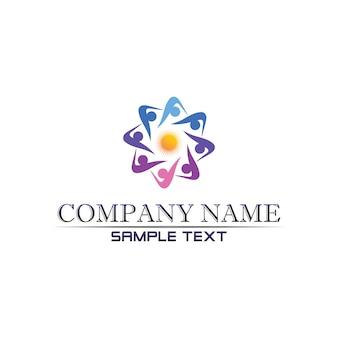 Сообщество уход логотип люди в круге векторный концепт