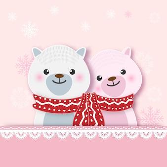Поздравительная открытка с медведем и снежинкой