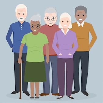 高齢者のグループ、高齢者の人々のアイコン