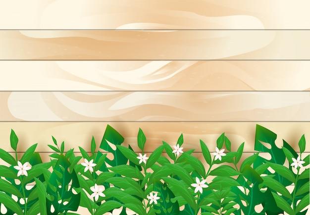 Листья и цветочные с деревянной текстурой фона