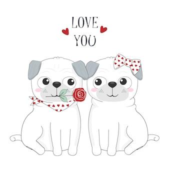 愛とバラのかわいい犬のカップル