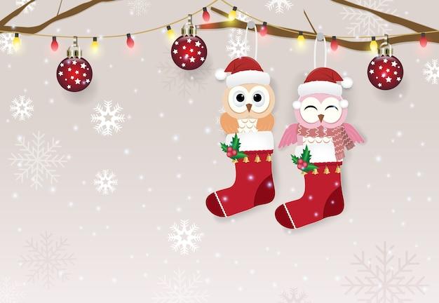 靴下と雪が降ったグリーティングカードのフクロウカップル