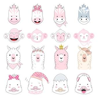 かわいい赤ちゃん動物漫画セットイラスト