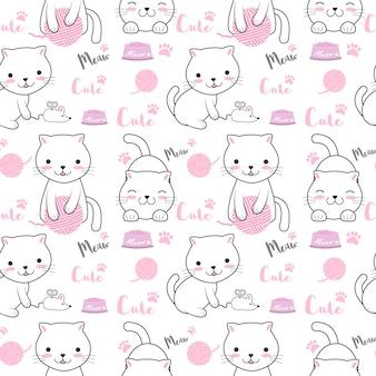 かわいい猫のシームレスパターン図