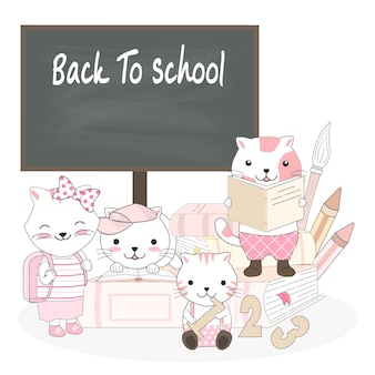 Мультфильм милый кот обратно в школу