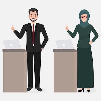 イスラム教徒の男性と女性のプレゼンテーション