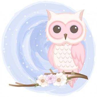 かわいいフクロウと花の手描きイラスト