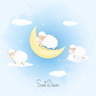 羊の雲にジャンプ手描きイラスト